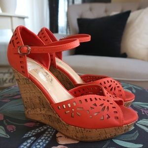 Coral Wedge Cutout Sandals Size 8.5